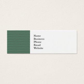 Aqua Blue and Gray Chevron Zig Zag Stripes Mini Business Card