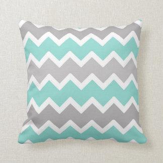 Aqua Blue and Gray Grey Chevron Throw Pillow