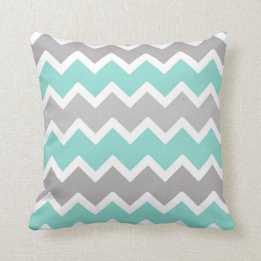 Blue And Aqua Throw Pillows : Aqua Blue and Gray Grey Chevron Throw Pillow Zazzle