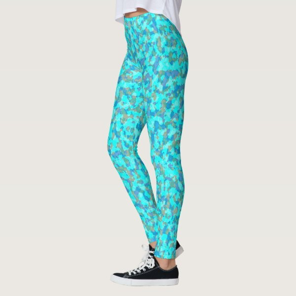 Aqua Blue and Green Camouflage Leggings