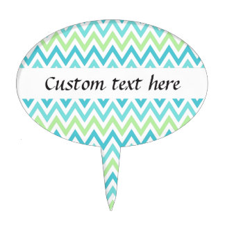 Aqua, blue and lime green chevron zigzag pattern cake topper