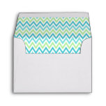 Aqua, blue and lime green chevron zigzag pattern envelopes