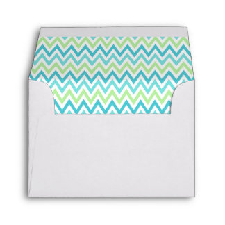 Aqua, blue and lime green chevron zigzag pattern envelope
