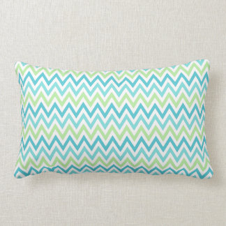 Aqua, blue and lime green chevron zigzag pattern lumbar pillow