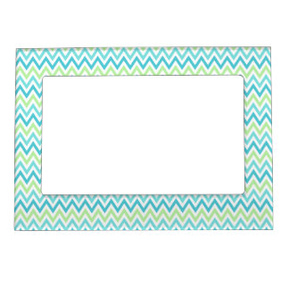 aqua blue and lime green chevron zigzag pattern magnetic frame