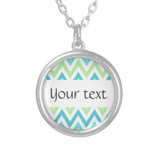 Aqua, blue and lime green chevron zigzag pattern round pendant necklace
