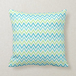 Aqua, blue and lime green chevron zigzag pattern throw pillow