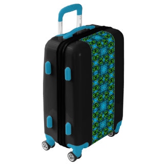 Aqua Blue and lime green stained glass Luggage