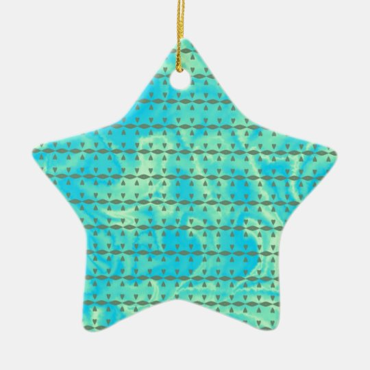 Aqua Blue and Lime Heart Line Design Ceramic Ornament