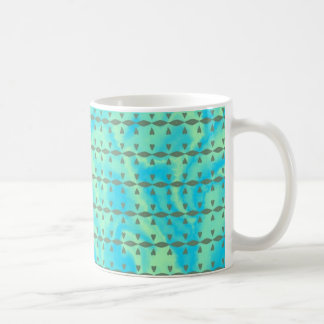 Aqua Blue and Lime Heart Line Design Coffee Mug
