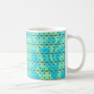 Aqua Blue and Lime Heart Line Design Mugs
