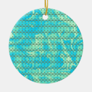 Aqua Blue and Lime Heart Line Design Double-Sided Ceramic Round Christmas Ornament