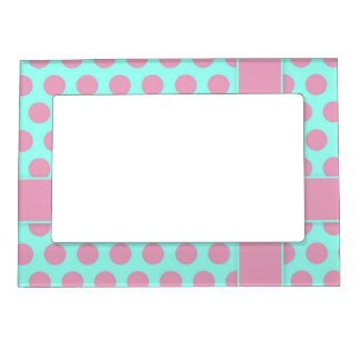 aqua blue and mauve pink polka dots cute frame