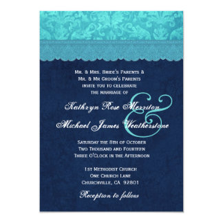 Aqua Blue and Navy Damask Wedding A001 5x7 Paper Invitation Card