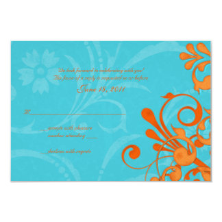 Aqua Blue and Orange Abstract Floral Response Card