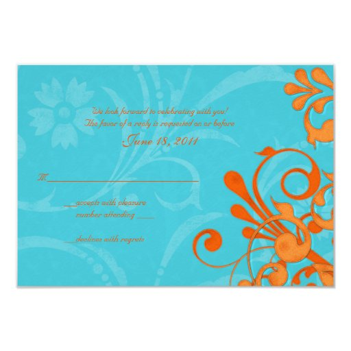 Aqua Blue and Orange Abstract Floral Response Card Personalized Invites