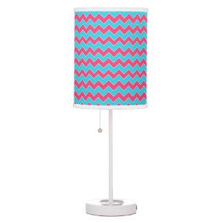 Aqua Blue and Pink Chevron Zigzag Pattern Table Lamp