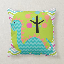 Aqua Blue and Pink Dragon Throw Pillow