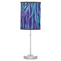 Aqua Blue And Purple Zebra Stripes Desk Lamp
