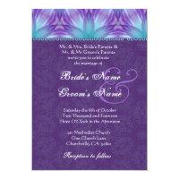 Aqua Blue and Royal Purple Purple Wedding Invitation