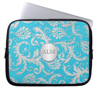 Aqua Blue and Silver Damask Laptop Sleeve