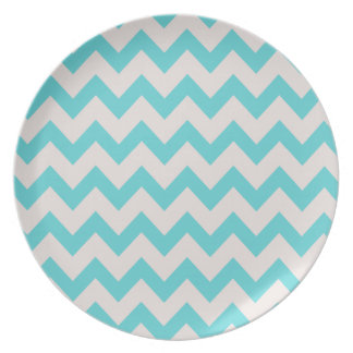 Aqua Blue and Snowy Grey/Gray White Zig Zag Patter Plate