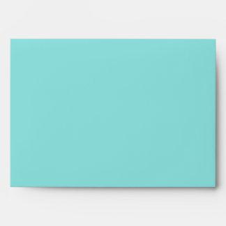 Aqua Blue and Taupe Wedding Invitation Envelope