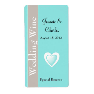 Aqua Blue and Taupe Wedding Mini Wine Label