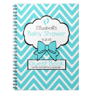 Aqua Blue and White Chevron Baby Shower Guest Book Notebook