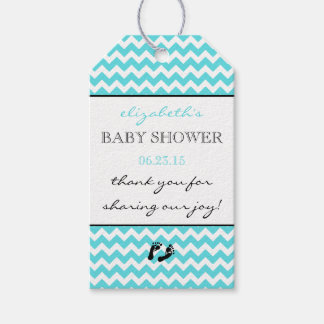 Aqua Blue and White Chevron Baby Shower Thank You Gift Tags