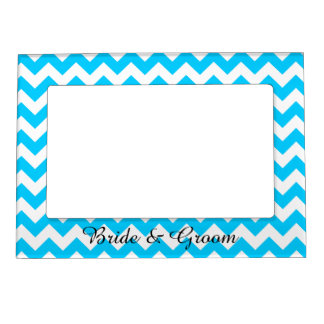 Aqua Blue and White Chevron Wedding Magnetic Photo Frame