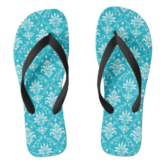 Aqua Blue and White Damask Flip Flops