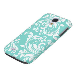 Aqua Blue and White Damask Pattern Galaxy S4 Cover