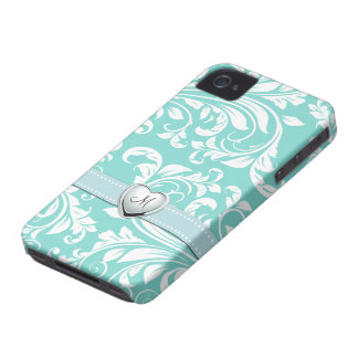 Aqua Blue and White Damask Pattern with Monogram iPhone 4 Cases