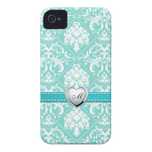 Aqua Blue and White Damask Pattern with Monogram iPhone 4 Case-Mate Cases