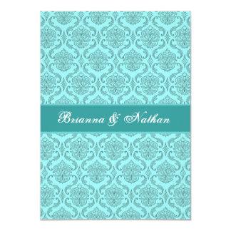 Aqua Blue and White Damask Wedding Invitation