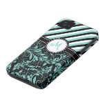 Aqua Blue and White Damask with stripes & monogram iPhone 4 Covers