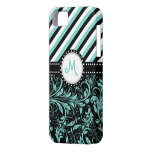 Aqua Blue and White Damask with stripes & monogram iPhone 5 Covers