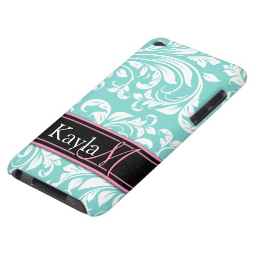Aqua Blue and White Damasked Pattern iPod Touch Covers