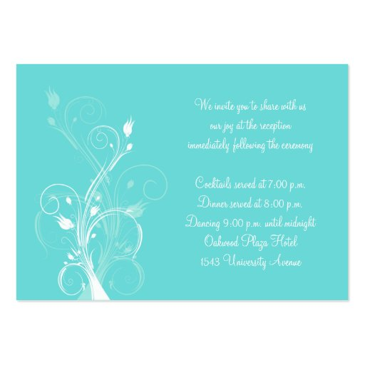 Aqua blue and white floral enclosure card large business
