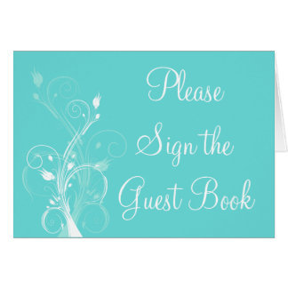 Aqua Blue and White Floral Guest Book Table Card