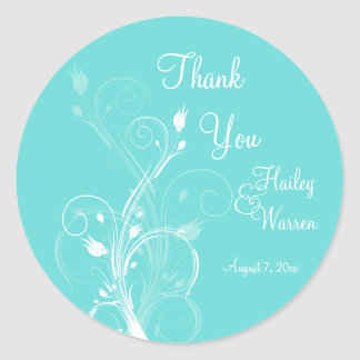 Aqua Blue and White Floral Wedding Favor Stickers