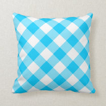 Aqua Blue and White Gingham Pattern Throw Pillow