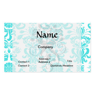 aqua blue and white intricate damask pattern Double-Sided standard business cards (Pack of 100)