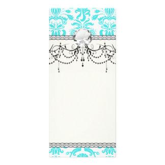 aqua blue and white intricate damask pattern rack card