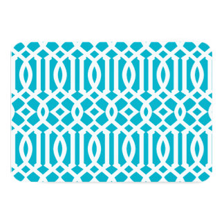 Aqua Blue and White Modern Trellis Pattern Card