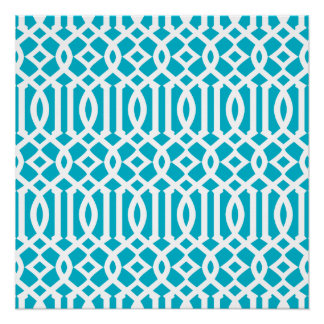 Aqua Blue and White Modern Trellis Pattern Poster
