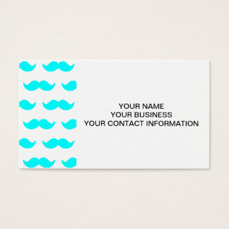 Aqua Blue and White Mustache Pattern 1 Business Card