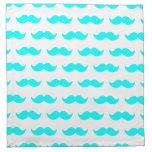 Aqua Blue and White Mustache Pattern 1 Printed Napkin