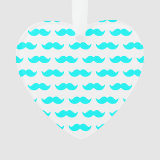 Aqua Blue and White Mustache Pattern 1 Ornament